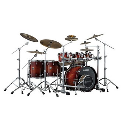 Used yamaha oak custom 5pc drum set matte sedona red