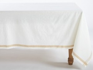 WHITE, TANGERINE CHAMBRAY ORGANIC TABLECLOTH