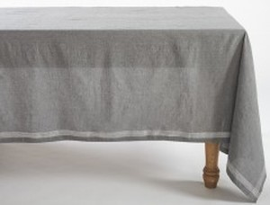 CHARCOAL CHAMBRAY ORGANIC TABLECLOTH