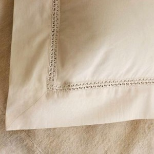 COYUCHI SHAM, LACE INSERT Organic Cotton CLEARANCE SALE