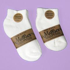 MAGGIES 2PK WHITE INFANT BABY, TODDLER CREW SOCKS Organic Cotton