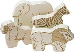 JUNGLE ANIMALS, SIMPLY NATURAL UNFINISHED WOOD Made in America 18.95