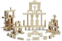 MASTER BUILDING BLOCK SET 104 PIECE, SIMPLE NATURAL UNFINISHED WOOD 168.95