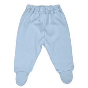 PASTEL MIX MATCH NEWBORN FOOTED BLUE PANT ORGANC COTTON